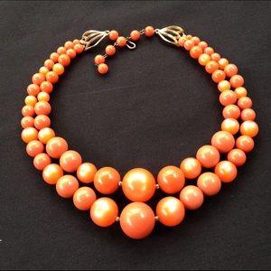 Vintage Orange Moonglow Gumball Necklace